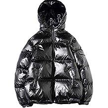 zarupeng Abrigo de invierno de manga larga guapo con capucha bolsillo engrosamiento abrigo chaqueta de algodón