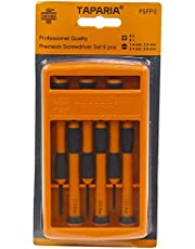 Taparia PSFP6 Steel Precision Screw Driver Set (Orange and Black, Pack of 6)