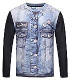 Pizoff Herren Langarm Druck T-Shirt mit Bunt 3D Jeansjacke Digital Print