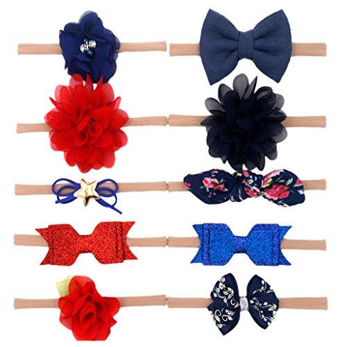 Huhu833 Baby Stirnbänder, 10 Stück Kinder Kleinkind Baby Mädchen Stirnband Bowknot Knot Blume Haarband Haarschmuck Set (C)
