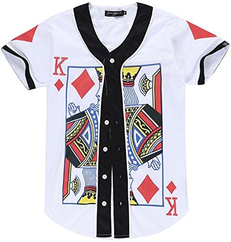 Pizoff Männer-T-Shirt mit Knopf rundhalsausschnitt kurze Ärmel Stil Hip-Hop Baseball Praxis Shirt lässig Tops poker A K herz Y1724-41-M (T-shirt Stil Top & Co)