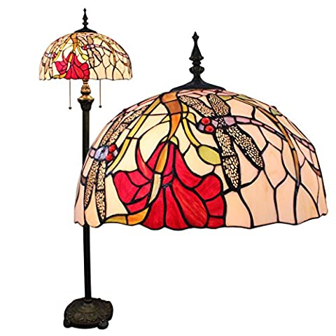 Gweat Tiffany 16-Inch Dragonfly européenne style pastoral de luxe élégant Creative main Stained Glass Tiffany Floor Lamp