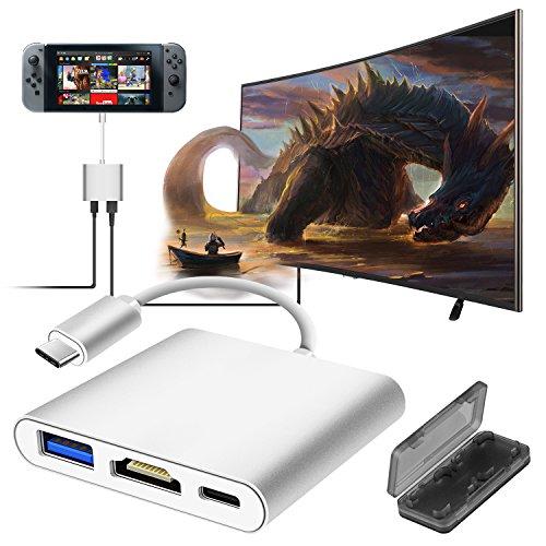 der U89zu HDMI Adapter für Nintendo Schalter, Samsung Galaxy S8/S8P, USB-c HDMI Digital AV Adapter Ladekabel und Anschluss Konverter für Nintendo Switch Geräte an HDTV/Projektor (Silber)–beilom