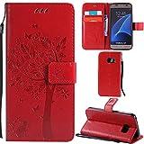 Ooboom® Samsung Galaxy S7 Coque Motif Arbre Chat PU Cuir Flip Housse Étui Cover Case Wallet Portefeuille Support avec Porte-cartes pour Samsung Galaxy S7 - Rouge