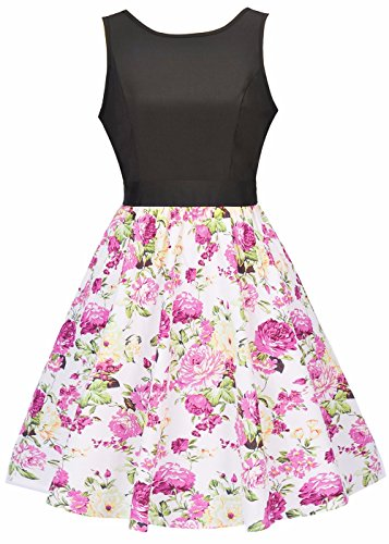 Donna in Vintage Floreale Fiori Rockabilly swing Dress Summer Party 2017 Bianco