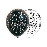 Sachet de 10 ballons notes de musique noirs/blancs 30 cm