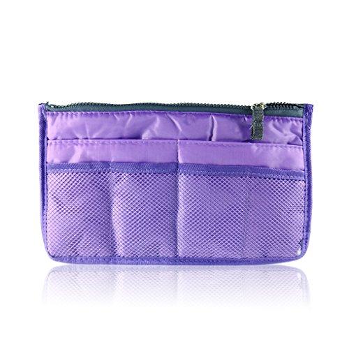 QHGstore Frauen Reißverschluss Organisator-Geldbeutel Ordentlich Make-up-Beutel-Handtasche Lila