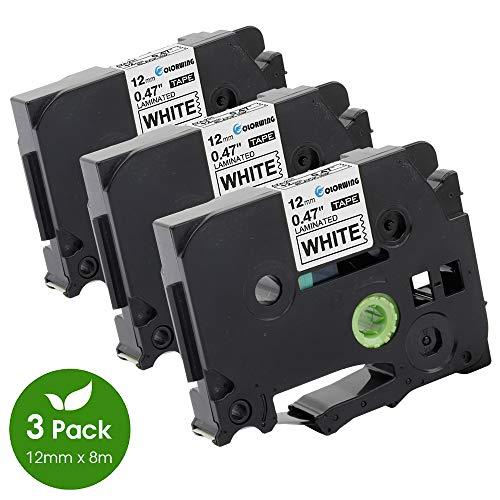 3x Schriftband kompatibel Brother TZe-231 TZ-231 schwarz auf weiß 12mm Breit x 8m Länge laminiert kompatibel mit P-Touch PT 1000W 1010 1090 1830VP 2030VP