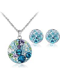 [Liquidación de JiangXin®] Conjunto de joyas de cristal austriaco, Colgante, collar y pendientes