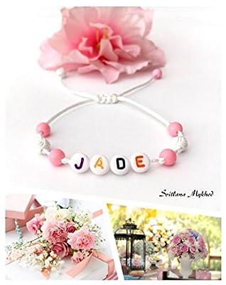 Bracelet avec prénom JADE (réversible, personnalisable) homme, femme, enfant, bébé, nouveau-né.