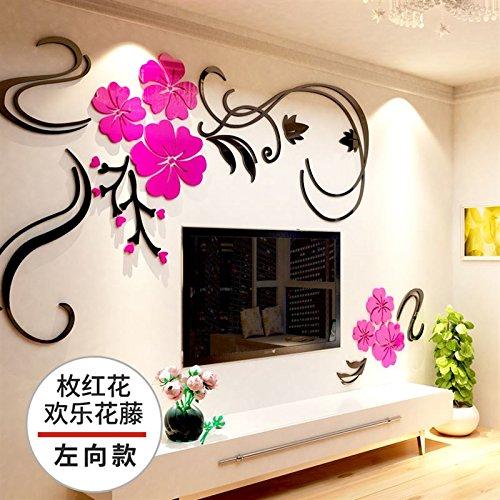 Hongrun Happy Flower Rattan Acrylic 3D Wall Art Mirror Living Room TV Background Wall Paper Self-Adhesive Room Decorations,C, Left, King (Rattan-peel)