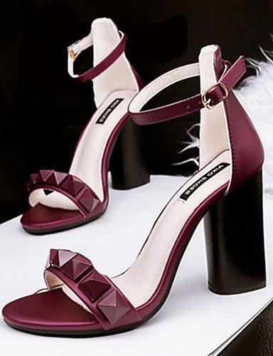 WSS 2016 Chaussures Femme-Décontracté-Noir / Rose / Gris / Bordeaux-Gros Talon-Talons-Talons-Polyuréthane gray-us6.5-7 / eu37 / uk4.5-5 / cn37