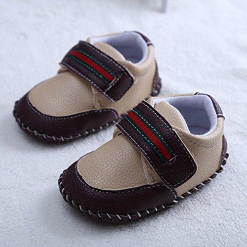 Chaussures de bébé,Fulltime® Bébés Filles Garçons Semelles souples en cuir Bottom Flats Chaussures Kaki