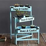 YINUO Amerikanischen Retro mehrschichtigen Klapp Blume Stand Pflanze Rahmen Wohnzimmer Balkon Kreative Dekoration Ornamente Rack (Color : Blue)