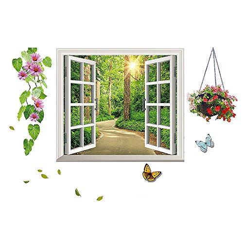 JAYSK 3D dreidimensionale Simulation gefälschte Fenster Landschaft grünen Garten frischen Stil Lin Yin Körbe zurück 140 * 70cm Wandaufkleber Aufkleber (Schrank-schiebe-korb)