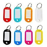 Goodlucky365 40 Pièces de Étiquettes ID de Porte-clés en Plastiques Multicolore Étiquettes de Bagages ID avec Anneau de clé Fendu(Couleur...