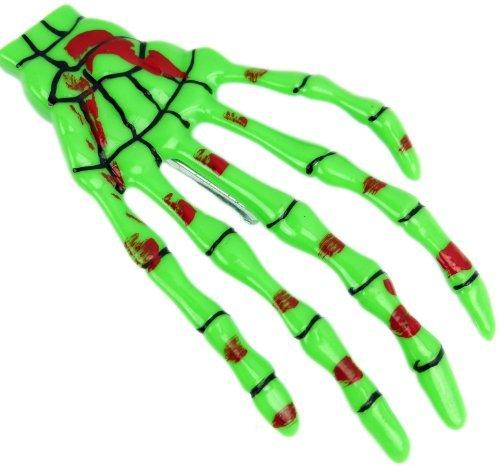 nge grün Halloween Skelett Hand Gothic Punk Rock Hair Clip Bobby Pin Skull Skeleton Hand Green 3207 ()