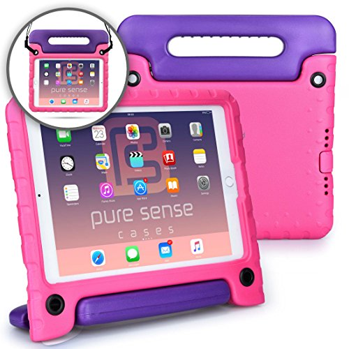Preisvergleich Produktbild Apple iPad Air 1, iPad 9.7 2017 Hülle für Kinder, PURE SENSE BUDDY robust antibakteriell keimfrei Schultergurt strapazierfähig Kinder widerstandsfähig stoßsicher Spielzeug Schutz tragbar Schutzhülle + Griff, Standfunktion, Displayschutz (Pink)