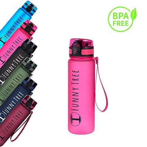 Funny Tree® Trinkflasche aus Tritan. 500ml hot pink. BPA frei und auslaufsicher! Ideal beim Yoga, Fitness oder beim Wellness. Auch bestens für Kinder geeignet.