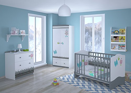 Polini Kids Babyzimmer Kinderzimmer komplett Set L Basic Modell Monsters 4 teilig mit Babybett/Kinderbett/Juniorbett, Wickelkommode, Kinderkleiderschrank, Matratze