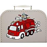 Pappkoffer mit Motiv Lustige Feuerwehr 25 cm (weiß)