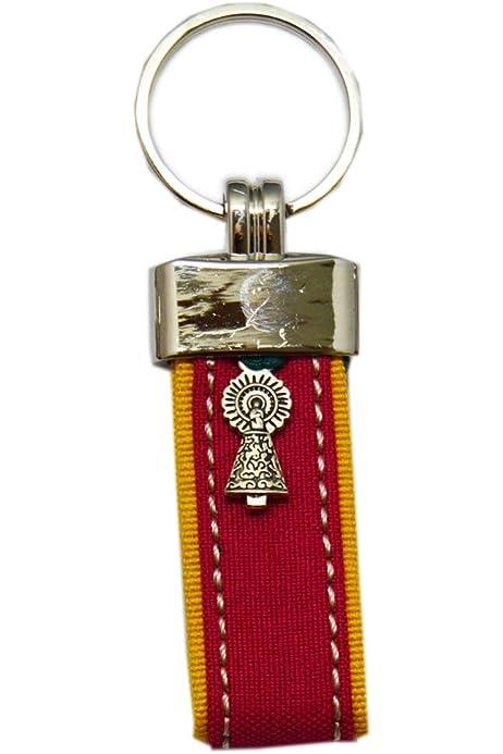 Llavero Virgen del Pilar. Tira Capote. Fucsia Amarillo 9,5cm ...