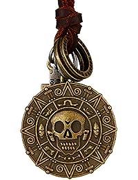 Dondon collar de hombre piel marrón con calavera de color latón moneda colgante y una bolsa de terciopelo
