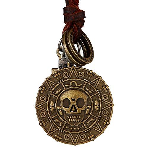 DonDon® Herren Halskette aus Leder braun mit messingfarbenen Totenkopf-Münzen-Anhänger und - Große Kostüm Schmuck Ringe