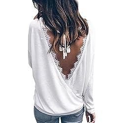 Minetom Tee Shirt Femme Chic Haut Dentelle Dos Nu Tops à Manches Longues Guipure Chemisiers Uni Laçage Blouses Femme T-Shirts Originaux Classique Basique Mode Femme Automne-Hiver 2017 Blanc FR 44