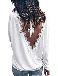 87c520dee19e2 Minetom Femme Chic Manche Longue T-Shirt Col V Dos Nu Chemisier Lâche  Blouse Casual Sexy Basique Tunique Hauts…