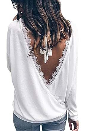 Minetom Femme Chic Manche Longue T-Shirt Col V Dos Nu Chemisier Lâche Blouse Casual Sexy Basique Tunique Hauts Printemps Automne Tops Blanc FR 34