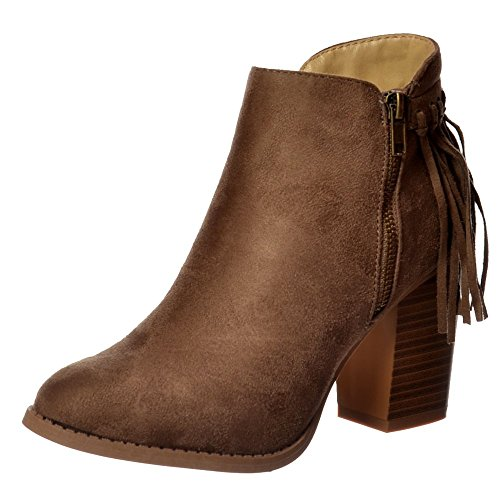 Onlineshoe Donna Nappa Taupe Di Frangia Camoscio Tacco Cubano Ankle Boot - Nero, Tortora