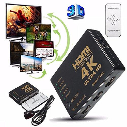 Roku-box Für Netflix (HDMI Switch unterstützt HDCP 1080p Mini 3 in 1 Out Intelligente 4 Port 4 K HDMI Audio Switcher Selector Splitter Verstärker Adapter mit IR-Fernbedienung Kompatibel mit 4 K Ultra HD Auflösung für Mac PCs Xbox TVS schwarz 5 in 1 HDMI switch with a IR remote)