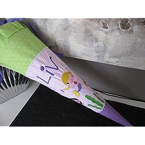 Meerjungfrauen lila-rosa-grün Schultüte Stoff + Papprohling + als Kissen verwendbar