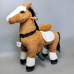 UFREE Horse, Action Pony, Walking Horse Toy, Giddy up Go Go Go for Kids Aged 3-5 Years Old, Rocking Horse Plush Fur, Really Go with Wheels,Height 35''
