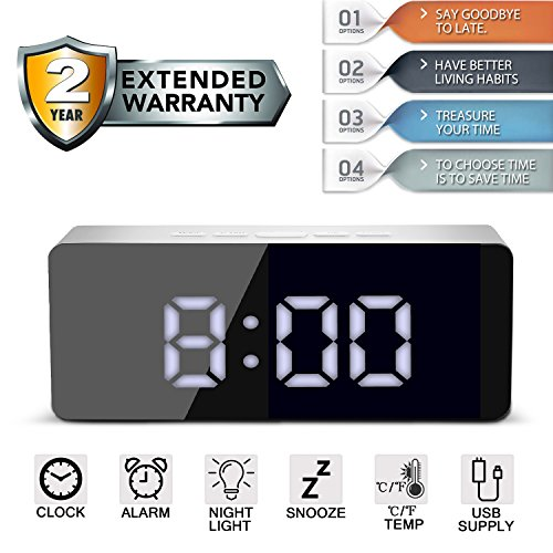 vivianan Alarm Clock Large Digital LED Display Portable Modern Battery Operated Mirror Clock USB Powered Smart Snooze Multi-function Time Temperature Fits for Office Bedroom Dormitory Travel White