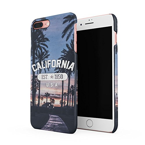 Under California Sun Summer Beach Palms Good Vibes Tumblr Dünne Rückschale aus Hartplastik für iPhone 7 Plus & iPhone 8 Plus Handy Hülle Schutzhülle Slim Fit Case cover California Palms