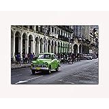 Deine bilder24. de–Mural XXL verde Oldtimer en Havana Cuba sobre lienzo y bastidor. La mejor calidad, hecho a mano en Alemania., blau gelb weiß grün rot orange braun schwarz rosa, 60 x 80