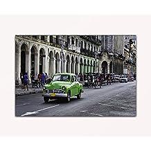 Su bilder24. de–imagen de pared XXL verde la Habana Cuba Oldtimer sobre lienzo y bastidor, alta calidad, hecha a mano en Alemania., blau gelb weiß grün rot orange braun schwarz rosa, 60 x 80