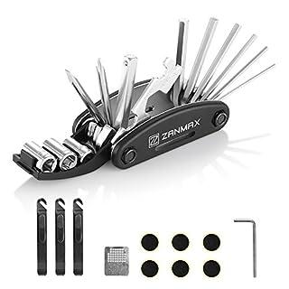 zanmax Fahrrad Reparatur Tool Kit, 16in 1Multifunktions-Fahrrad Mechaniker Tire Patch Handwerkzeuge faltbar Multitool mit 3PCS Tire Stemmeisen Stangen, Tasche