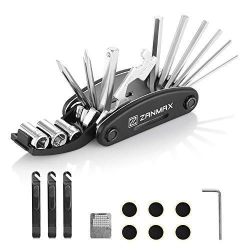 ZANMAX Fahrrad Reparatur Tool Kit, 16in 1Multifunktions-Fahrrad Mechaniker Tire Patch Handwerkzeuge Faltbar Multitool mit 3Pcs Tire Stemmeisen Stangen, Tasche (Datei 2 Sockel)