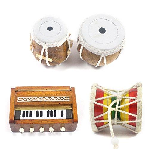 India Meets India Handgefertigtes Miniatur-Holz-Damroo, Tabla-Set, Harmonium (3 Set Kühlschrankmagneten), Showpieces Mehrzweck-Geschenk
