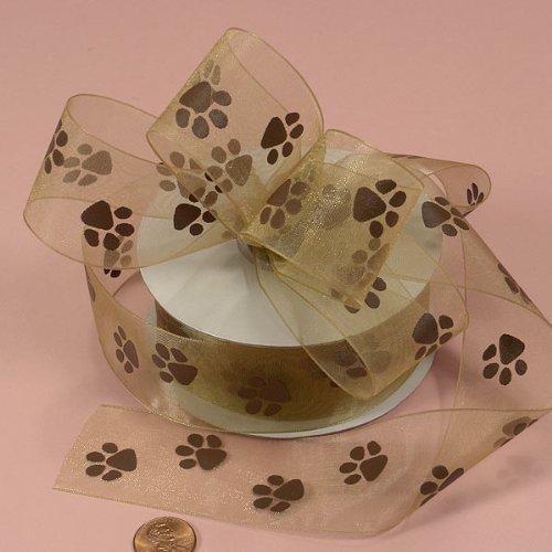 Brown Sheer Paw Prints Ribbon, 1-1/2 X 25Yd by Paper Mart -