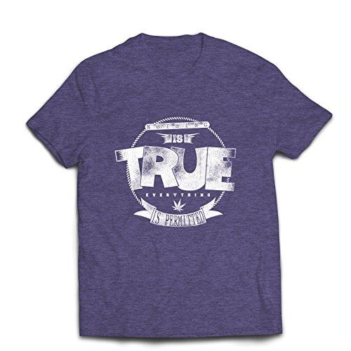 lepni.me T-Shirt pour Hommes Rien N'est Vrai, Tout est permis - Hipster Swag, Mode de la Rue, Fumer des Citations de Marijuana (X-Large Gris Chiné Multicolore)