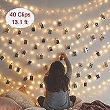 LED Foto Clips Lichterketten Lypumso, 40 Fotos Clips 5M Warmweiß Stimmungsbeleuchtung Batteriebetriebene Außen und Innen Dekoration für Foto Memos Kunstwerke(Warmweiß)