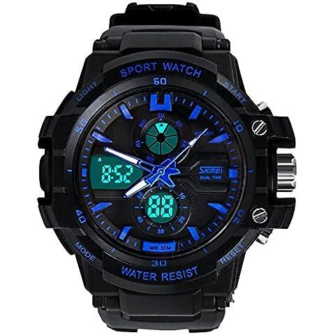 Skmei 0990 Uomo Orologi Sportivi LED Digital Outdoor orologio da polso resistente all'acqua Blu - Cronografo Resistente All'acqua Orologio