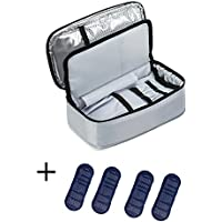 ALLCAMP Large Insulin Cool Bag Diabetic Organizer Portable Medical Travel Cooler Case+ 4 Ice Packs