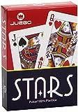 JUEGO - Carte Poker Stars I Carte Gioco Da Tavolo I Originali Poker & Texas Hold'em I 100% Plastica I Scala 40, Burraco, Pinnacola - Rosso & Nero
