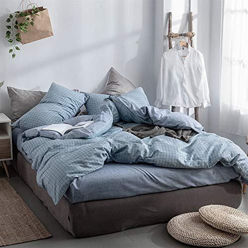 UOUL Bettwäscheset Baumwolle 4-teilig Blau Weiches Plaid Verblasst Nicht Komfort Student Jugend Schlafzimmer Voll,Blue,Full\Queen -