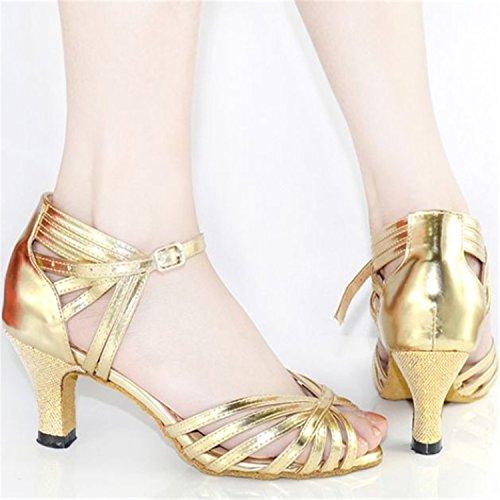 Yff Regalo Mujeres Bailan Zapatos Baile Latino Danza Del Tango Zapatos De Baile 7.5cm Dorado